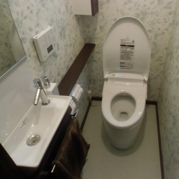 丸みのあるデザインが特徴のTOTO製のネオレストRHにカウンター手洗器を施工しました。