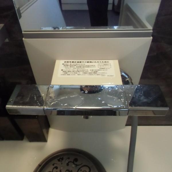 水栓はスッキリしたデザインのスクエア水栓です。